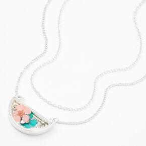 Silver Half Moon Flower Multi Strand Pendant Necklace,