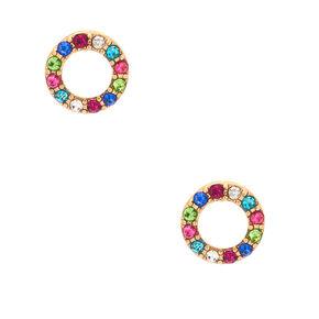 Gold Rainbow Crystal Circle Stud Earrings,