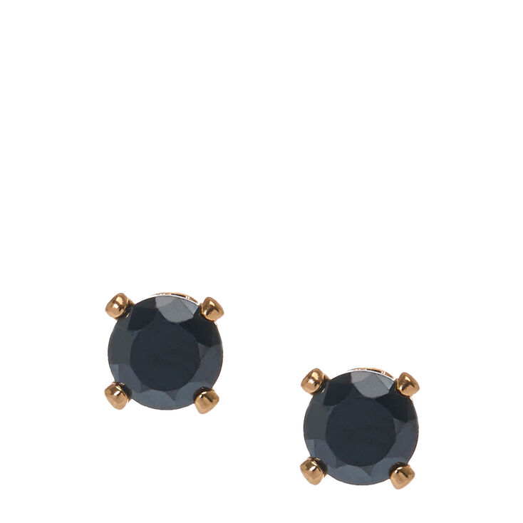 4mm Jet Black Round Cubic Zirconia Stud Earrings,
