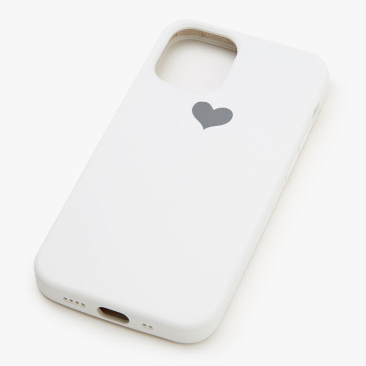 White Heart Protective Phone Case - Fits iPhone 12 Mini,