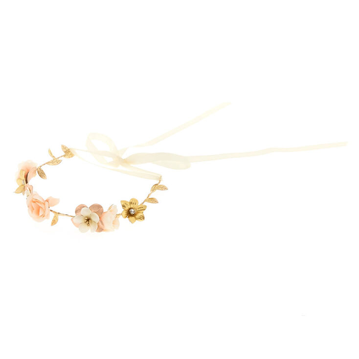 Rose Gold Flower Crown Tie Headwrap,