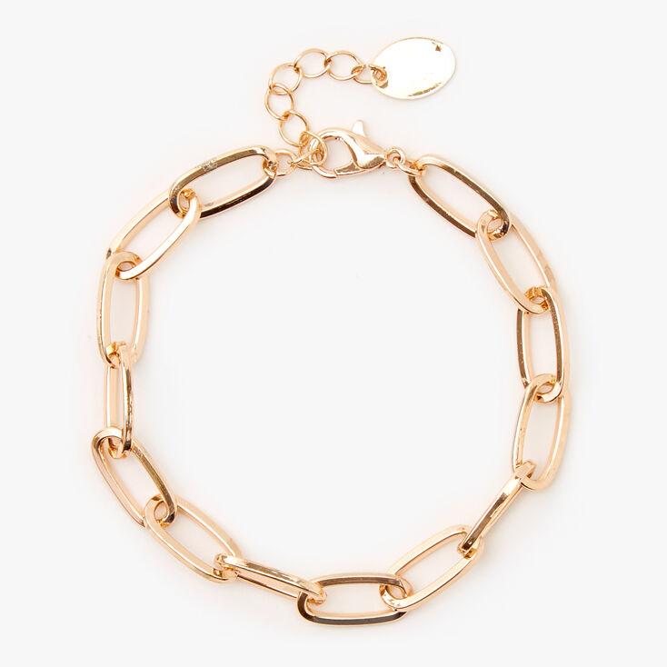 Gold Paperclip Link Chain Bracelet,