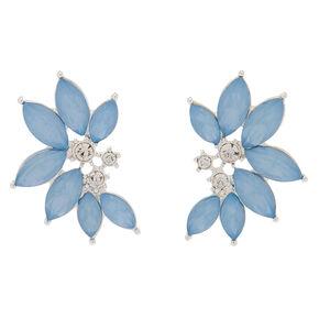 Crystal Floral Stud Earrings - Blue,