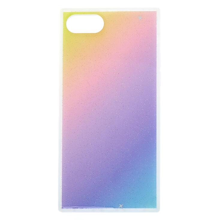Rainbow Pastel Glitter Square Phone Case - Fits iPhone 6/7/8,