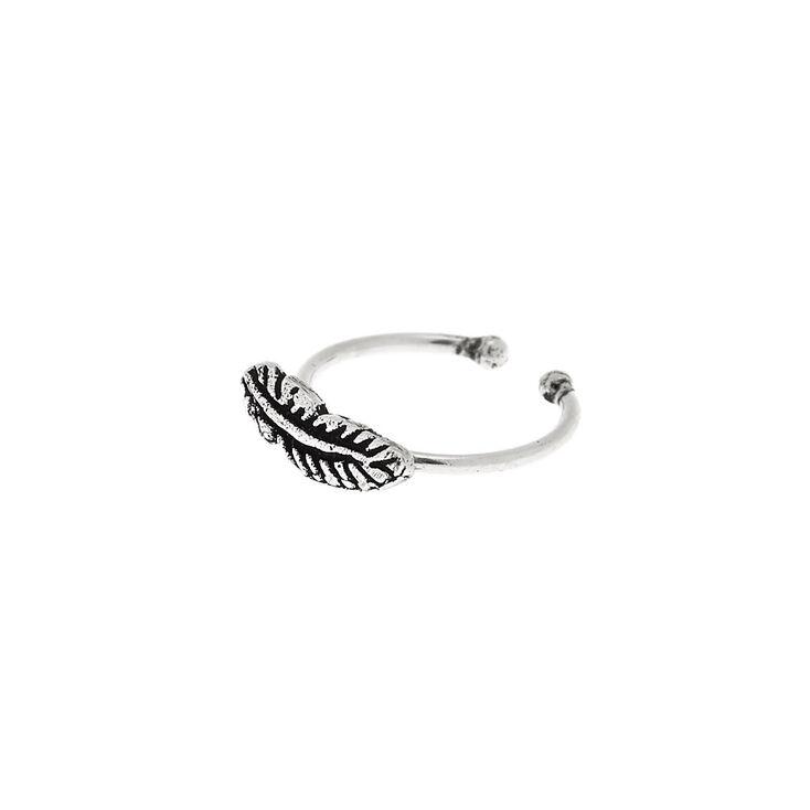 Sterling Silver Leaf Faux Cartilage Hoop Earring,