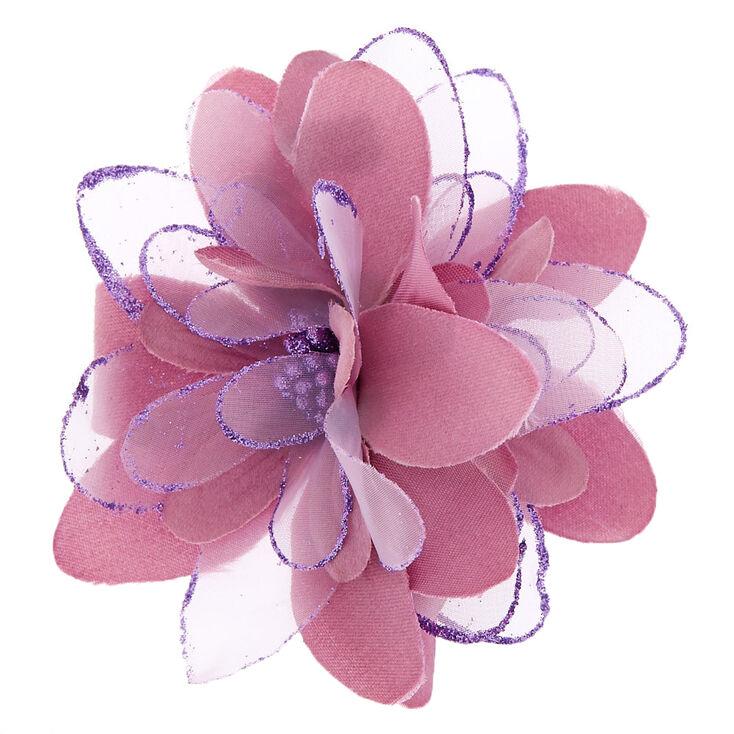 Glitter Lily Flower Hair Clip - Mauve,