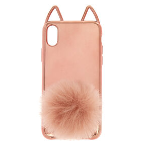 Rose Gold Cat Pom Phone Case - Fits iPhone X/XS,
