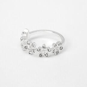 Silver Embellished Flower Ring,