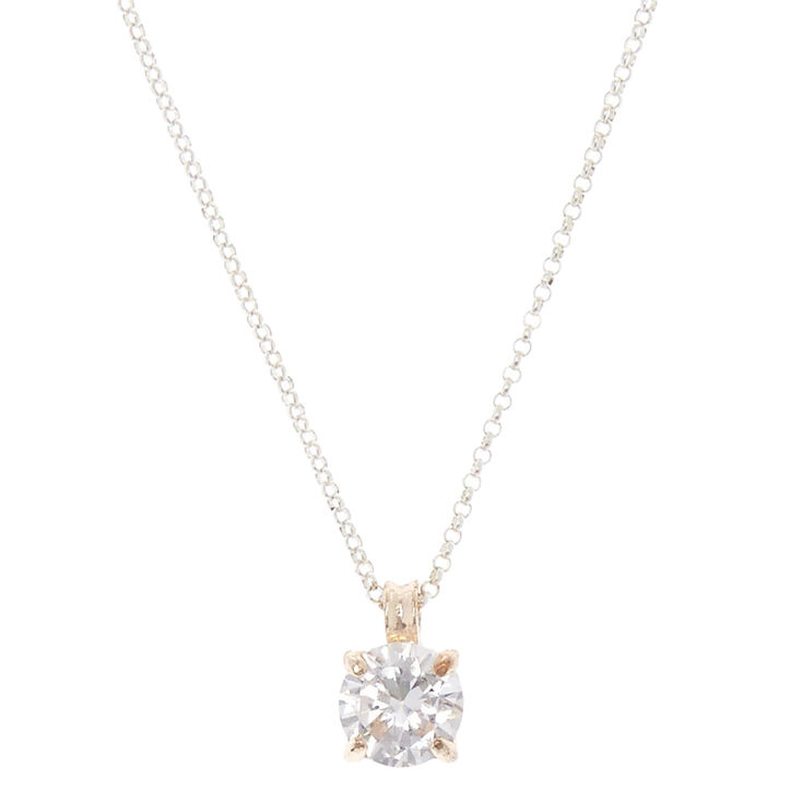 Gold Tone Framed Round Cubic Zirconia Pendant Necklace,