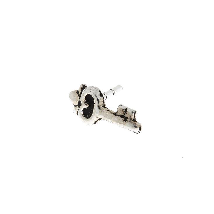 Silver 16G Key Tragus Stud Earring,