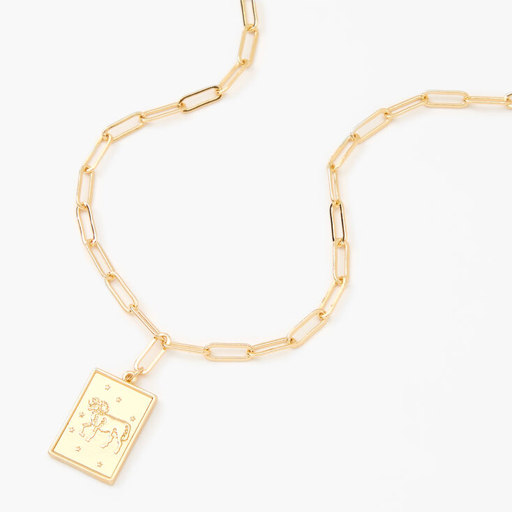 Gold Rectangle Zodiac Symbol Pendant Necklace - Aries,