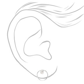 Sterling Silver Cubic Zirconia Circle Stud Earrings - 3MM,
