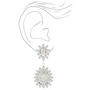 Crystal Flower Drop Earrings - Light Blue,