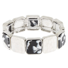 Black & White Resin Square Stretch Bracelet,