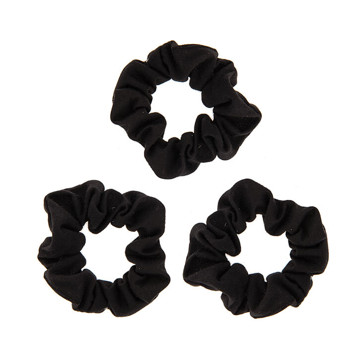Soft Jersey Hair Scrunchies - Black, 3 Pack,