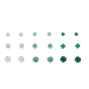 Graduated Crystal Stud Earrings - Green, 9 Pack,