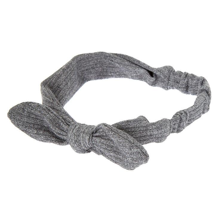 Ribbed Knot Bow Headwrap - Gray,