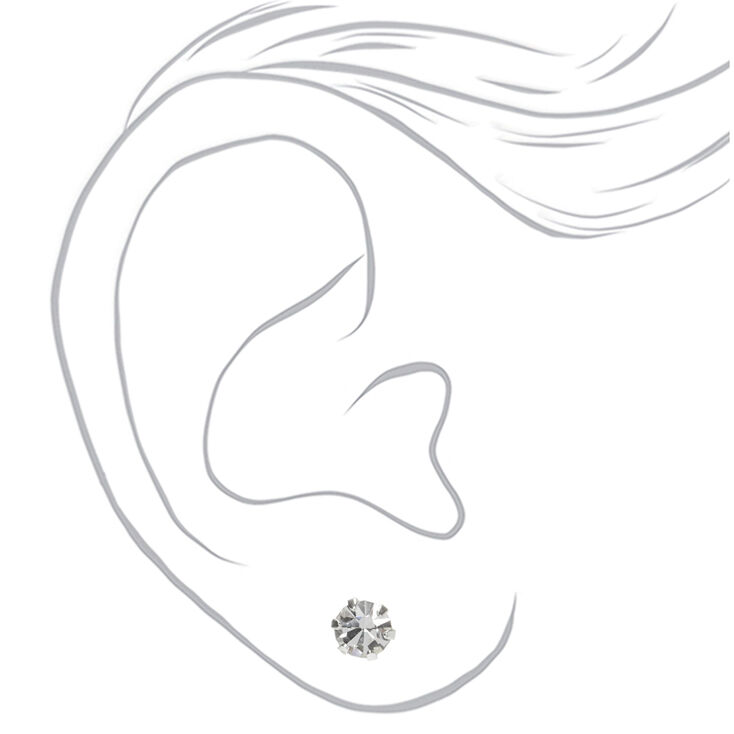 Sterling Silver Cubic Zirconia 5MM Round Cup Stud Earrings,