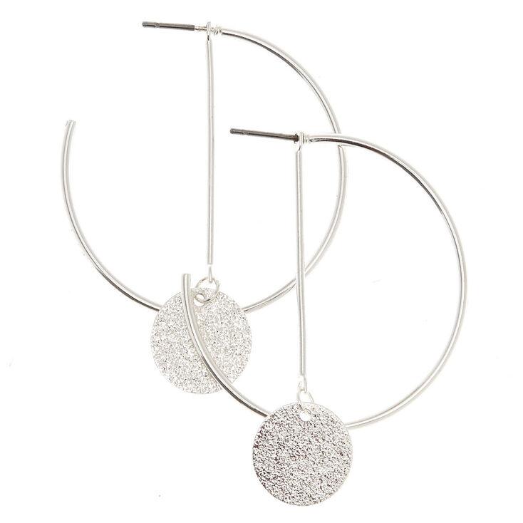 40MM Silver Tone Geometric Sandblasted Hoop Earrings,