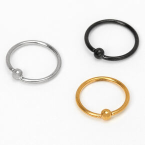 Mixed Metal Titanium 22G Ball Hoop Nose Rings - 3 Pack,