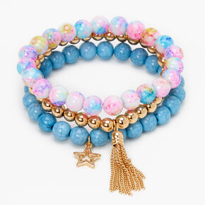 Star Rainbow Marble Beaded Stretch Bracelets - Bue, 3 Pack,