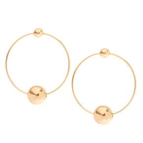 Gold Ball Hoop Earrings,