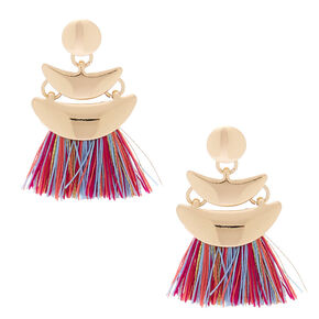 "Gold 1"" Tassel Drop Earrings - Rainbow,"