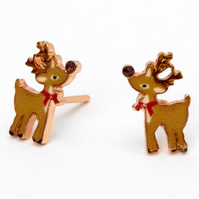18kt Rose Gold Plated Reindeer Stud Earrings,