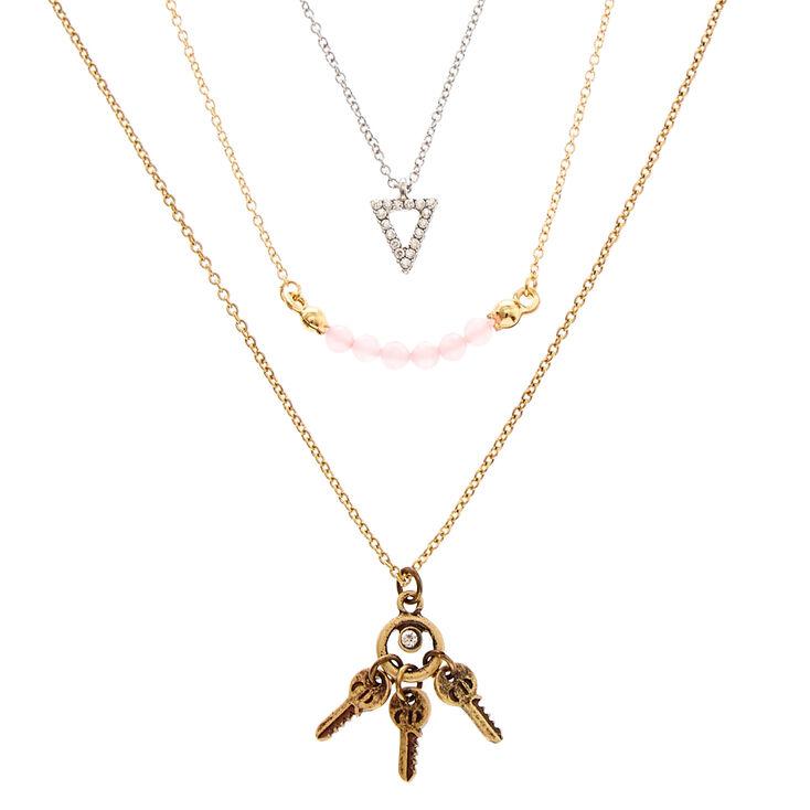 Silver & Gold-Tone Boho Triple Layer Necklace,