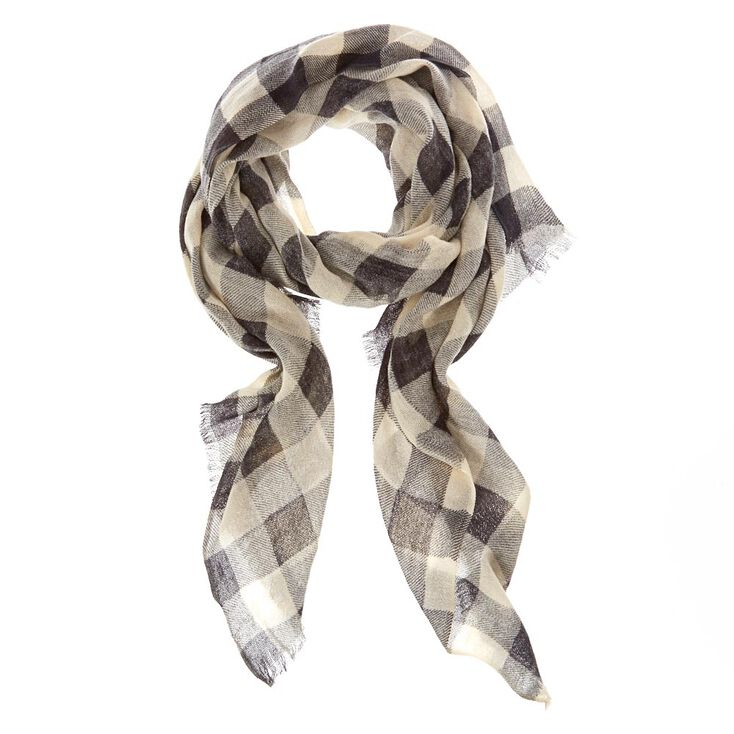 Black & White Checkered Knit Scarf,