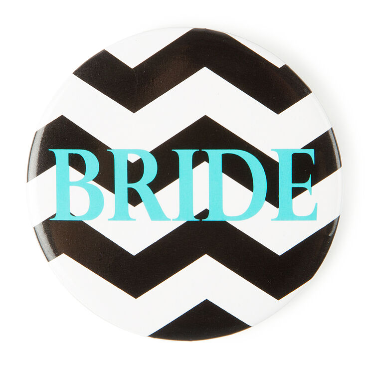 Black Chevron Stripe Bride Button,