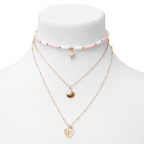Gold Disc Seashell Multi Strand Necklace - Pink,