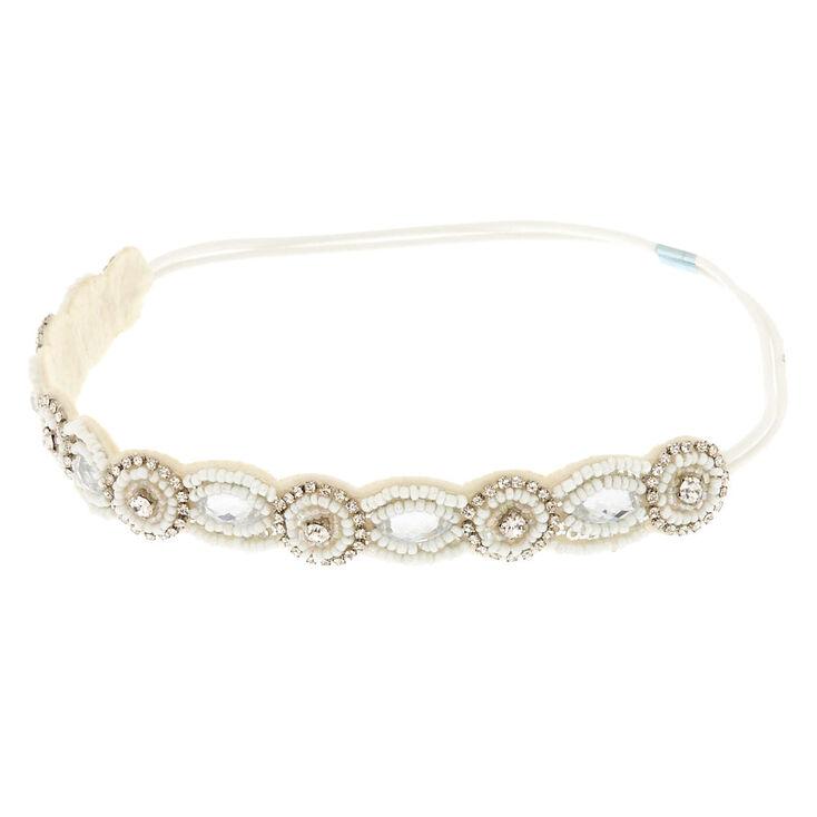 Beaded White Skinny Headband,