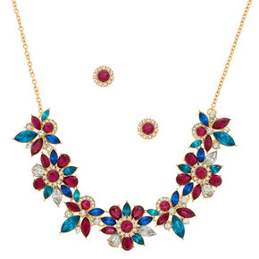 Jewel Tone Floral Jewelry Set - Fuschia, 2 Pack,