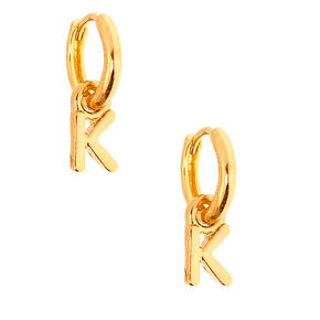 Gold 10MM Initial Huggie Hoop Earrings - K,
