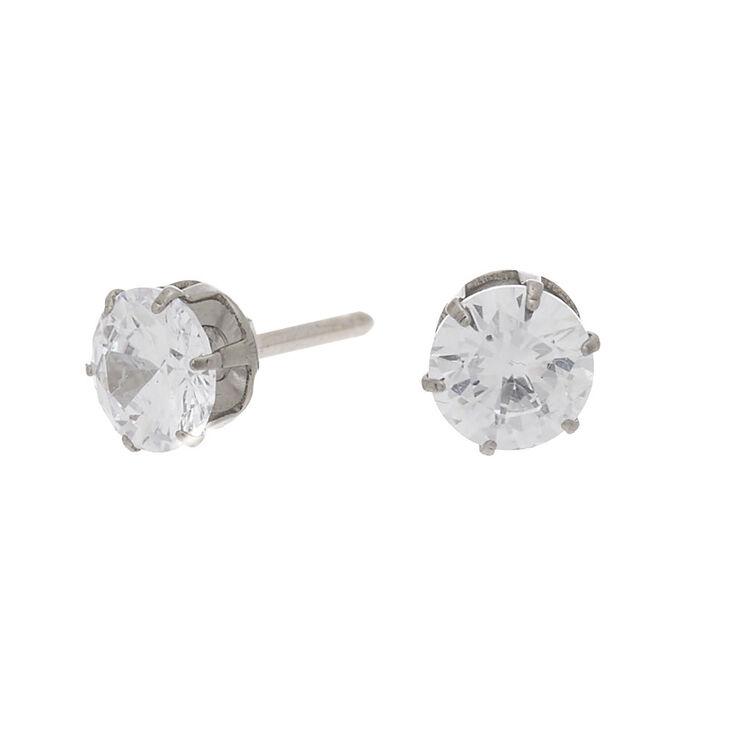 Silver Titanium Cubic Zirconia 6MM Round Stud Earrings,