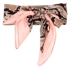 Silky Snakeskin Bandana Headwrap - Pink,