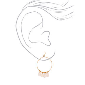 "Gold 2"" Teardrop Hoop Drop Earrings - White,"