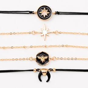 Gold & Black Enamel Chain and Cord Bracelets - 5 Pack,
