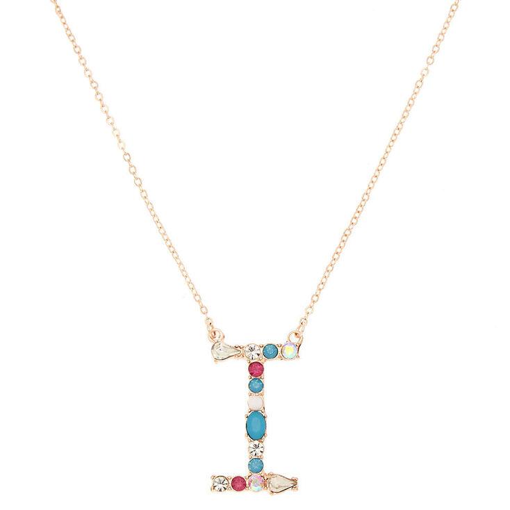 Embellished Long Initial Pendant Necklace - I,