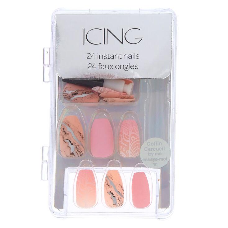 Pink Marble Faux Nail Set,