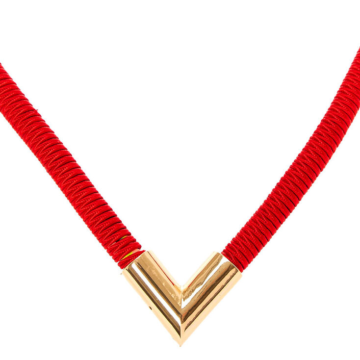 Red Corded Golden Angle Statement Necklace,