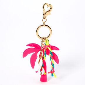 Palm Tree Cowrie Shell Keychain - Pink,