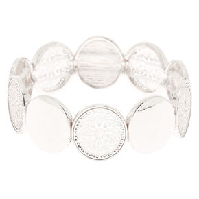 Silver Filigree Disc Stretch Bracelet,