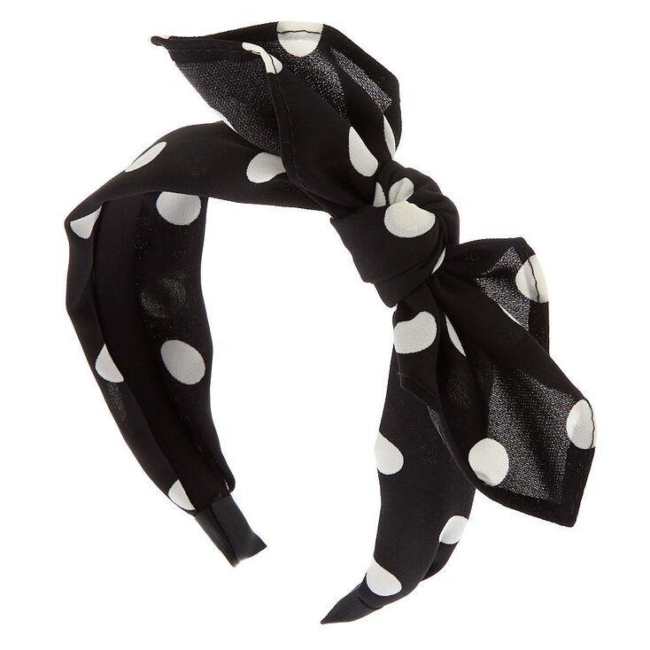 50s Hair Bandanna, Headband, Scarf, Flowers | 1950s Wigs Icing Polka Dot Bow Headband - Black $7.99 AT vintagedancer.com