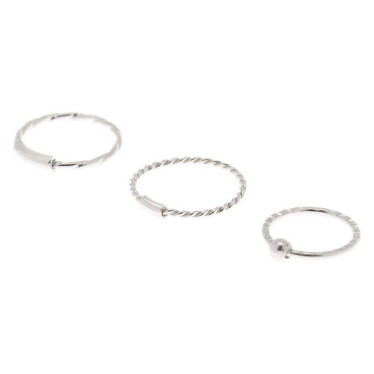 Sterling Silver 22G Textured Cartilage Hoop Earrings - 3 Pack,