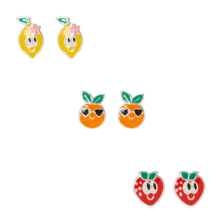 Sterling Silver Cute Fruit Stud Earrings - 3 Pack,