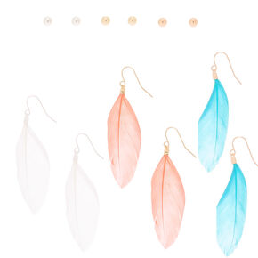 Mixed Metal Ball & Feather Mixed Earrings - 6 Pack,