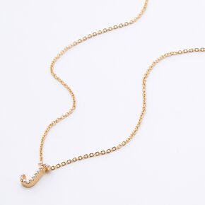 Gold Mini Pearl Initial Pendant Necklace - J,
