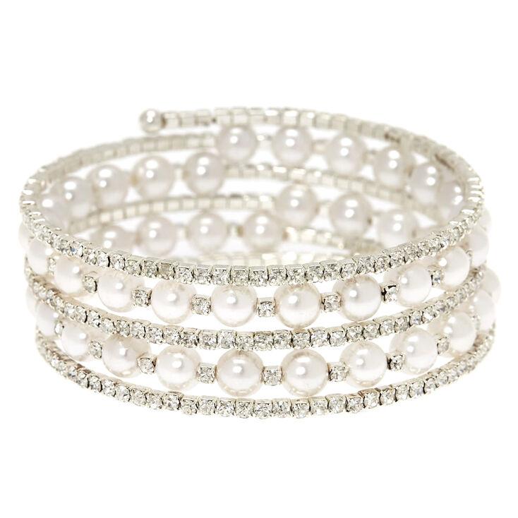 Rhinestone & White Pearl Coil Bracelet,
